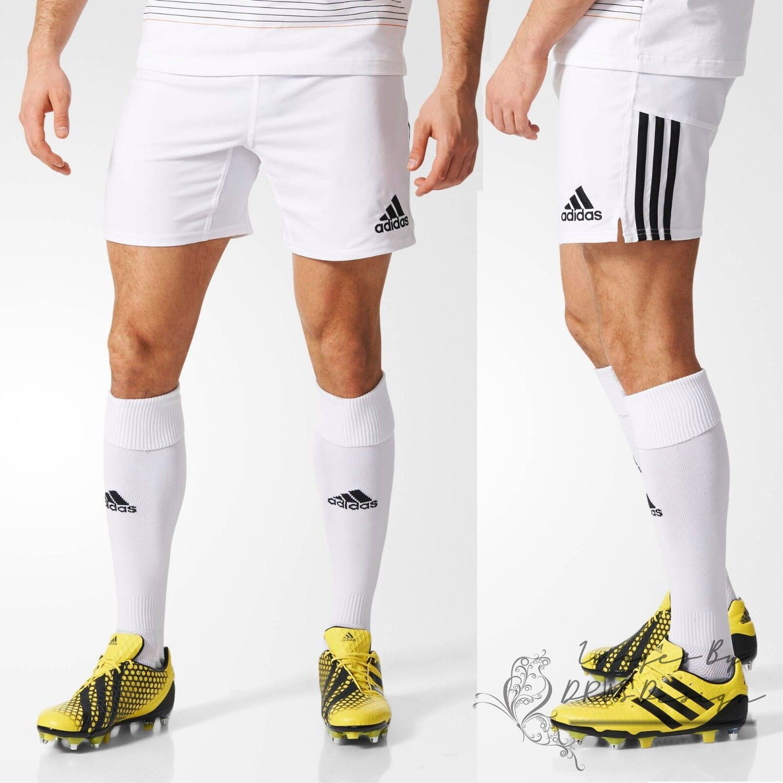 adidas Classic Sportos rövidnadrág Fehér 3 csíkos rögbi Futball rövidnadrág