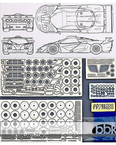 McLAREN F1-GTR LONG TAIL PHOTO ETCH DETAIL UP SET for FUJIMI