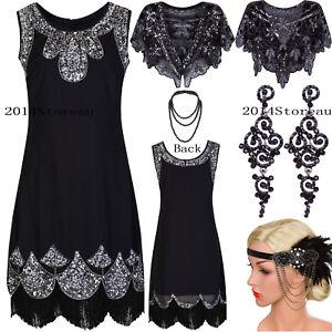 930b159fdad Image is loading Black-Classic-1920s-Flapper-Dress-Vintage-Gatsby-Evening-