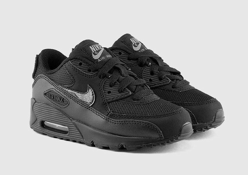 Nike Air Max 90 Mesh GS Junior Barn Boys Sneakers Skor - Svart - Storlek 3 4 5 6