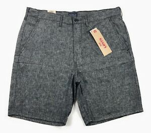 24e42977e Levis Straight Chino Shorts Mens Linen Blend Gray Chambray Flat ...