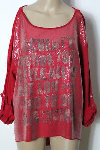Shirt-Gr-42-44-rot-Langarm-Blusen-Damen-Shirt-mit-Pailletten-aus-Italien
