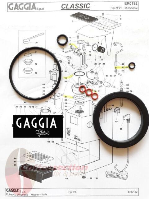 Gaggia Classic Baby Evolution O-Ring SERVICE KIT Boiler Seal incl Basket Holder