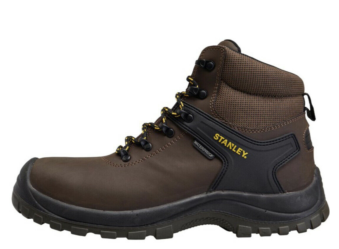 Stanley Waterproof Safety Men's Leather Work Boots Brown Size 9 new