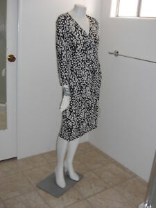 Chaps-by-Ralph-Lauren-Black-amp-White-Abstract-Print-Wrap-Ruched-Sheath-Dress-Sz-L