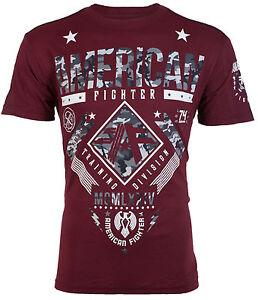 AMERICAN FIGHTER Mens T-Shirt LANDER Athletic BURGUNDY GREY CAMO Gym MMA UFC $40