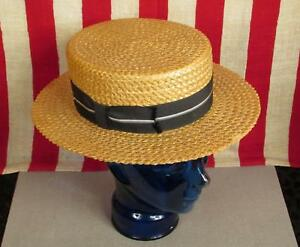 d1bb249ad00b3 Vintage 1930s Stetson Straw Boater Skimmer Hat Blue Striped Ribbon 6 ...
