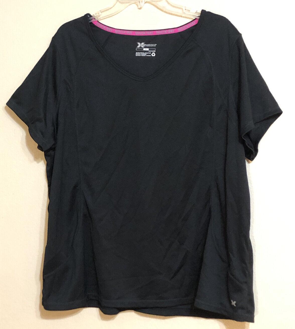 Xersion Womens 3X Black Quick Dri Plus V-neck Short Sleeve Activewear Top