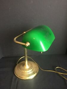 Exceptionnel Image Is Loading Vintage Bankers Office Desk Lamp With Green Glass