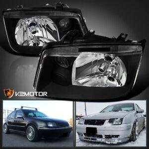 W-O-Built-in-Fog-Fits-1999-2005-VW-Jetta-Bora-MK4-Black-Headlights-Pair-99-05