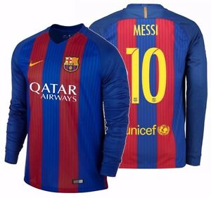 watch e6fb1 08274 Details about NIKE LIONEL MESSI FC BARCELONA LONG SLEEVE HOME JERSEY  2016/17 QATAR.