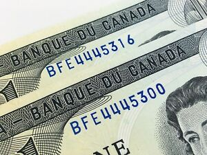 One-1973-Canada-1-Dollar-BFE-Canadian-Uncirculated-Consecutive-Banknote-I440