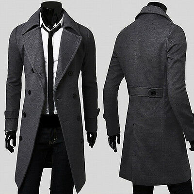 MEN Military Trench Coat Winter Long Jacket Double Breasted Overcoat Windbreaker