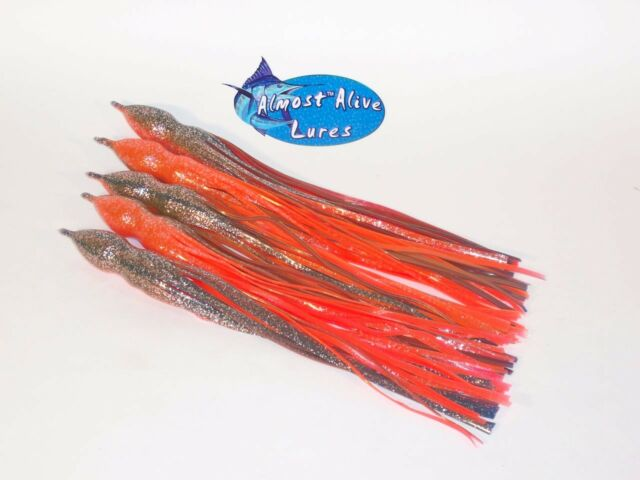ALMOST ALIVE 5 SOFT SQUID OCTOPUS SKIRTS SALTWATER FISH LURES BAIT LUMO BLUE XL