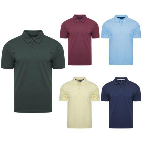 Mens Plain Soft Feel Full Cotton Summer Polo T Shirt Short Sleeved Button Crew