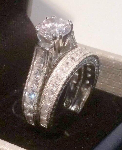 Round Princess Diamond Engagement ring set Antique White gold ov Platinum Finish