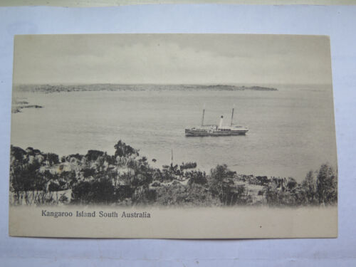POSTCARD KANGAROO ISLAND SOUTH AUST c1905 SAIL & STEAM SHIP & ROW BOAT AT SHORE