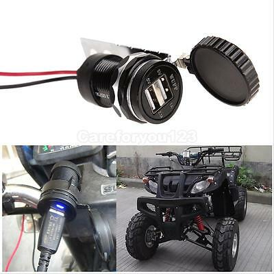 Dual USB Motorcycle Car Phone Power Supply Charger Waterproof Port Socket 12V