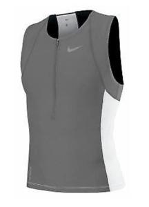 Nike 712743 Mens Triathlon Swim Top Tri Aero Tank Shirt Grey White S M or L  $76