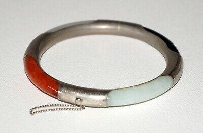 Vintage Asian Chinese Jade Hinged Bangle Bracelet Purple Lavender Small Wrist Jade Bangle  Chinese Jade Estate Jewelry
