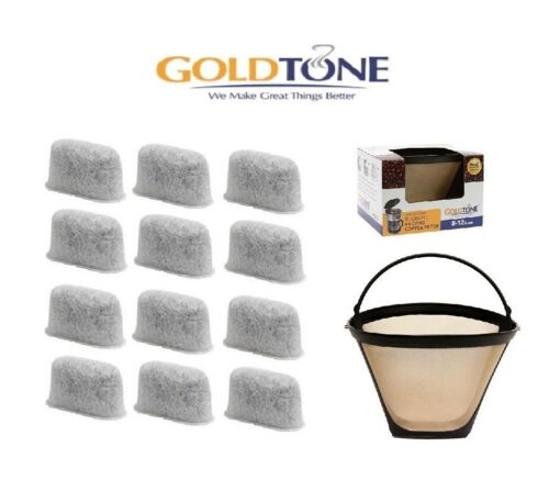 GoldTone Charcoal Water Filters fits Cuisinart 12 1 Reusable Coffee Filter /&