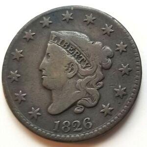 1826 CORONET HEAD LARGE CENT BEAUTIFUL FINE NICE COIN!