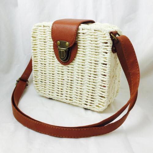 Womens Rattan Straw Woven Crossbody Holiday Beach Basket Mini Bag Messenger X2R4