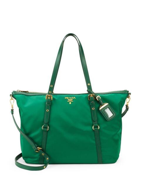 c66a6ff9b081 ... cheap 100 authentic new prada nylon leather green tote handbag purse  tote bag b7fee 1ad17