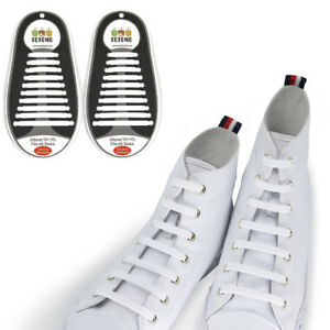 0940fbbc3b3e Image is loading TOTOMO-White-No-Tie-Elastic-Shoelaces-Silicone-Tieless-