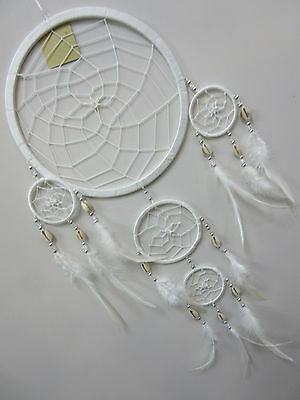 Stunning Handmade Nylon White 22cm Web Shell Bead Dream Catcher 73cm Tot Length