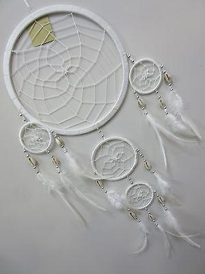 Stunning Handmade Nylon White 22cm Web Shell Bead Dream Catcher 73cm Tot Length