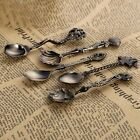 5pc Vintage Royal Style Kitchen Bar Metal Carved Mini Coffee Fruit Dessert Spoon
