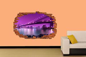 NEW YORK BROOKLYN BRIDGE 3D WALL STICKER ROOM DECORATION DECAL MURAL ...