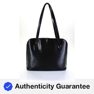 Louis Vuitton Epi Leather Lussac Large Tote Handbag Black