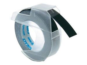 Prägeband 9mm//3m schwarz//glänzend für Dymo            Packung 3 Bänder