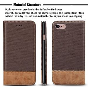 iPhone-8-Wallet-7-Premium-Case-Credit-Card-Slots-Pockets-Magnetic-Leather-Brown