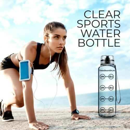 Best 32oz New Year Special Clear Sports Water Bottle Updated Lid Design