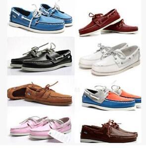 Men-Docksides-deck-Top-Side-Lace-Up-Moccasin-Leather-Boat-shoes-Sz-Plus-Sz