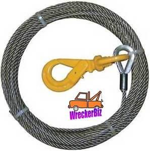 3/8 x 65' IWRC EIPS STEEL CORE WINCH CABLE w/ SELF LOCKING SWIVEL HOOK