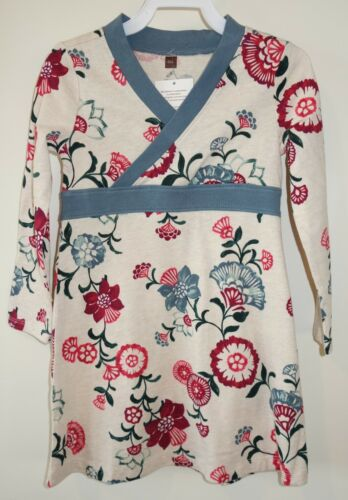 New W//Tags Tea Collection Oatmeal Heather Taiyo Wrap Neck Dress Girl/'s Sz 4