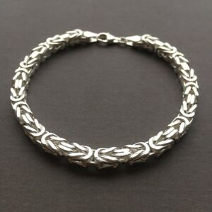Mens-Viking-Byzantine-Chain-Bracelet-5-5mm-33GR-925-Sterling-Silver-8-Inch