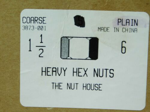 "NH NEW 6 PACK 1-1//2/""-6 Grade 2 Plain Finish Steel Hex Nuts FREE SHIPPING!"
