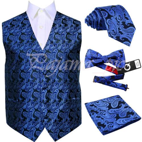 Bowtie Suit Vest Hanky 6xl Blue Jurk Necktie Xs Royal Paisley Tuxedo Gilet SMVUpqz
