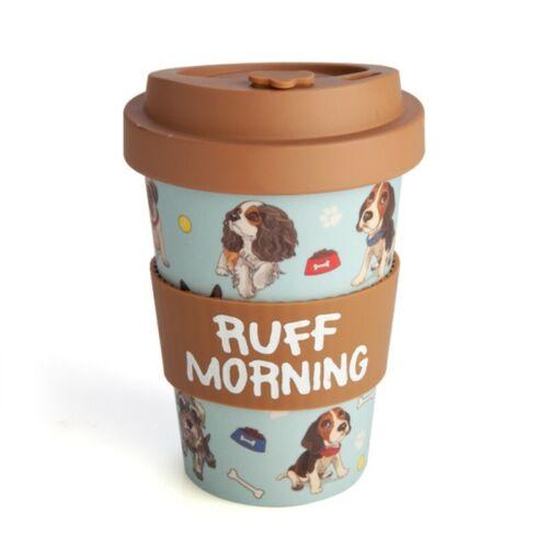 444280 ECOGO BAMBOO DOG RUFF MORNING 470ML TRAVEL MUG KEEP CUP COFFEE TEA