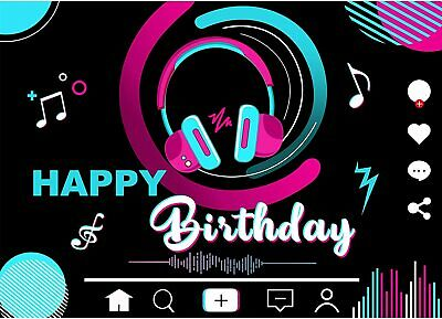 TIK Tok Birthday Party Decorations Musical Themes Happy Birthday Backdrop Banner Photo Backdrop Artistic Music Theme Birthday Party Supplies Party Decorations Wall Poster