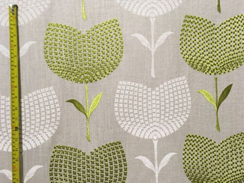 "HARLEQUIN /""LOLITA/"" EMBROIDERED CURTAIN BLIND CUSHION FABRIC APPLE//LINEN 3.1m"