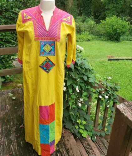 Vintage Josefa Multi-Colored Cotton Caftan/Dress