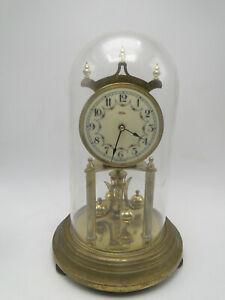 Old-Kundo-Spring-Wind-Brass-400-Day-Anniversary-Clock-w-Glass-Dome-not-working