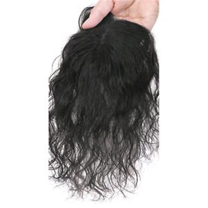 Women-Natural-Curly-Mono-Human-Hair-Clip-in-Topper-Hair-Piece-For-Loss-Hair