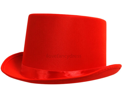 QUALITY SATIN TOP HAT WITH BAND VICTORIAN FANCY DRESS DANCE THEATRE STAGE SHOW